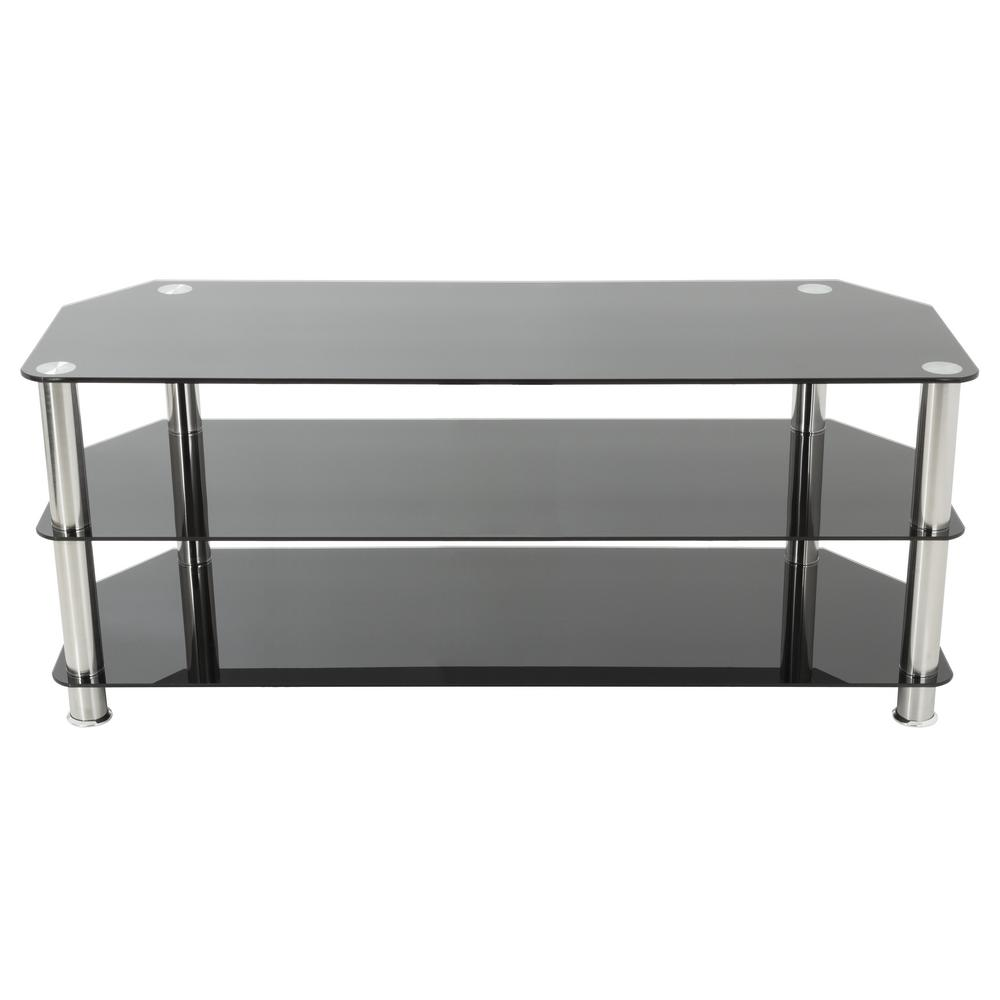 AVF TV Stand For TVs Up To 60 In. Black Glass And Chrome Legs