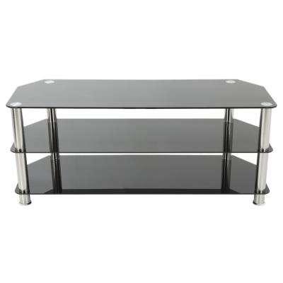 TV Stand for TVs up to 60 in. Black Glass and Chrome Legs