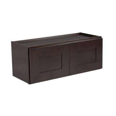 Ready to Assemble 30x12x15 in. Brookings Shaker Style 2-Door Wall Cabinet in Espresso