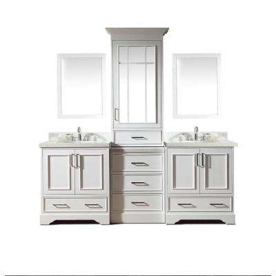 Stafford 85 in. Bath Vanity in White with Quartz Vanity Top in White with White Basins and Mirror