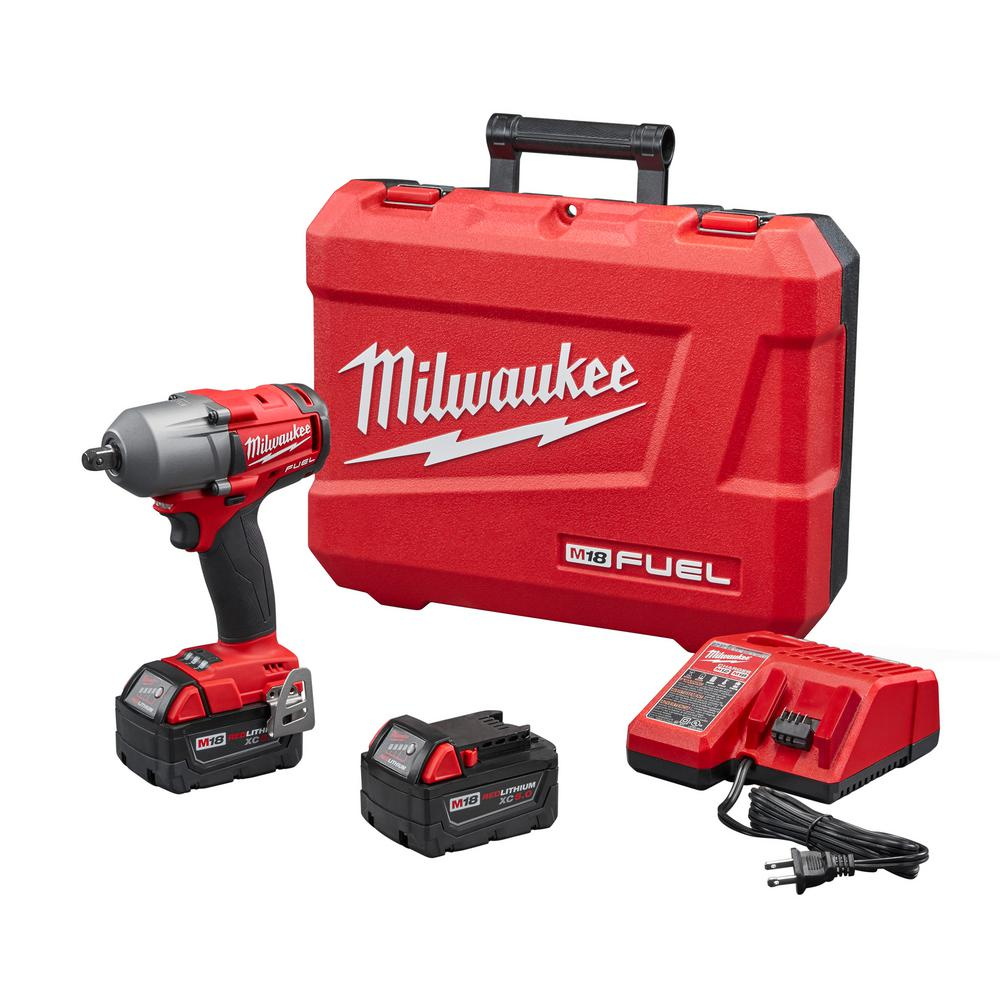 Milwaukee M18 FUEL 18-Volt Lithium-Ion Brushless Cordless Mid Torque 1/2 in. Impact Wrench W/ Pin Detent Kit W/(2) 5.0Ah Batteries