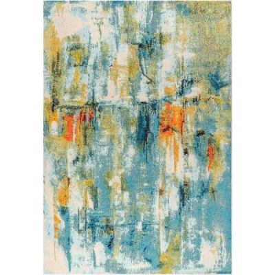Contemporary Pop Modern Abstract Waterfall Blue/Cream 8 ft. x 10 ft. Area Rug