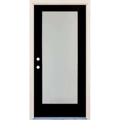 36 in. x 80 in. Elite Inkwell Right-Hand Full Lite Satin Etch Glass Contemporary Painted Fiberglass Prehung Front Door