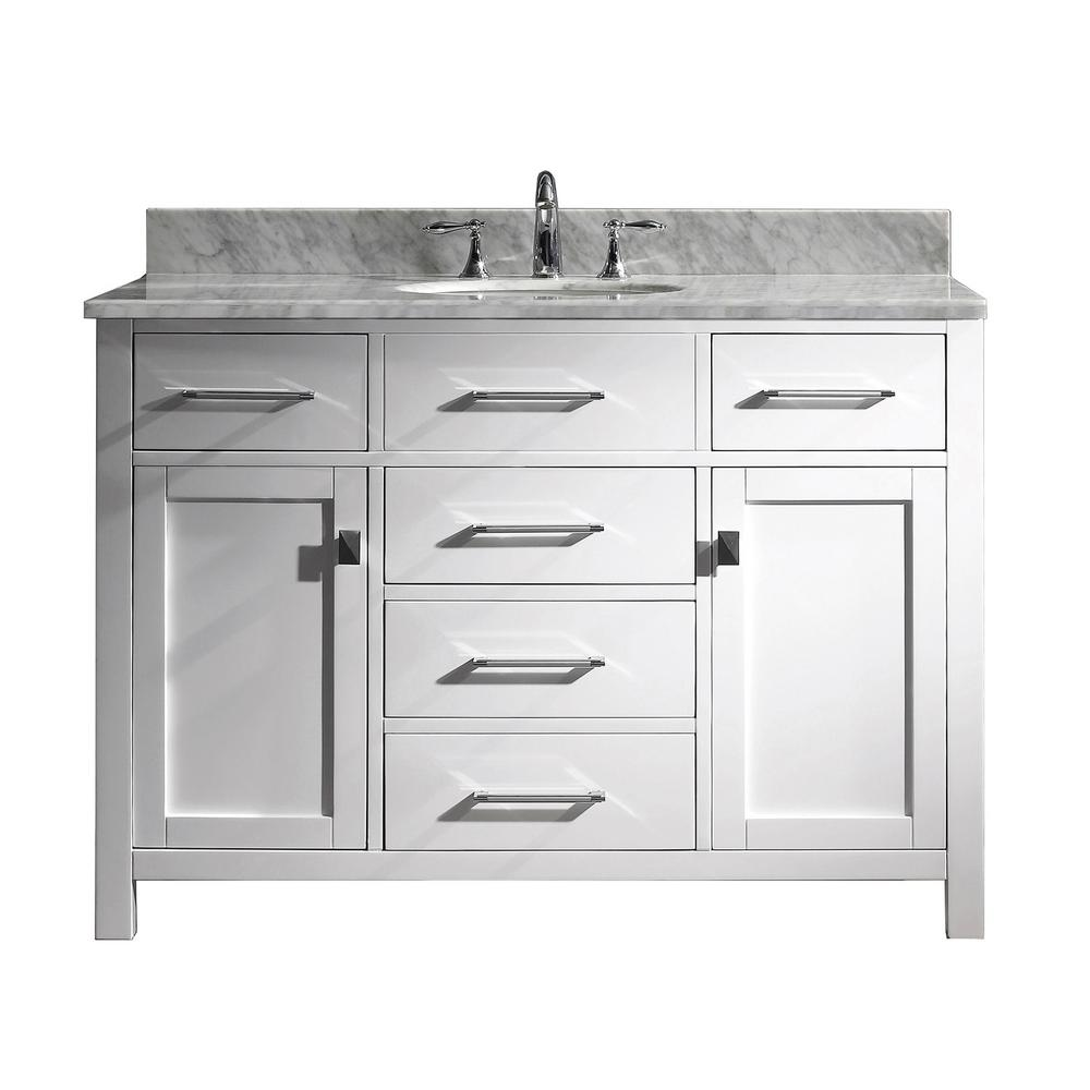 Virtu USA Caroline 49 in. W Bath Vanity in White with Marble Vanity Top in White with Round Basin