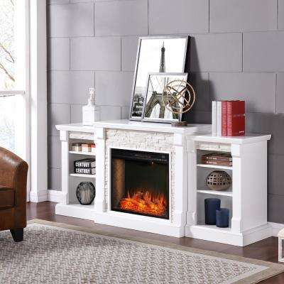 Brenamon Alexa-Enabled 71.75 in. Smart Bookcase Electric Smart Fireplace in White