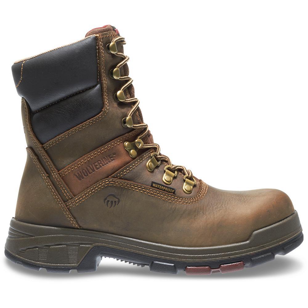"Men's Cabor Size 9M Dark Brown Nubuck Leather Waterproof Composite Toe 8"" Boot"