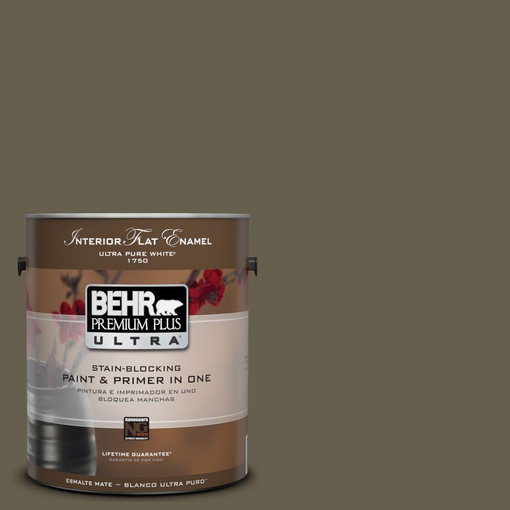 BEHR Premium Plus Ultra 1-Gal. #UL190-1 Ivy Topiary Interior Flat Enamel Paint