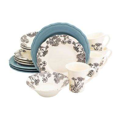 Savannah 16-Piece Blue Dinnerware Set