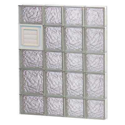 25 in. x 32.75 in. x 3.125 in. Ice Pattern Glass Block Window with Dryer Vent