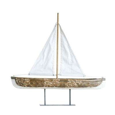 Waterside 28 in. Hand-Carved Mango Wood/Canvas Sailboat on Metal Stand