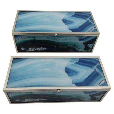3.75 in. Blue Metal Framed Boxes (Set of 2)