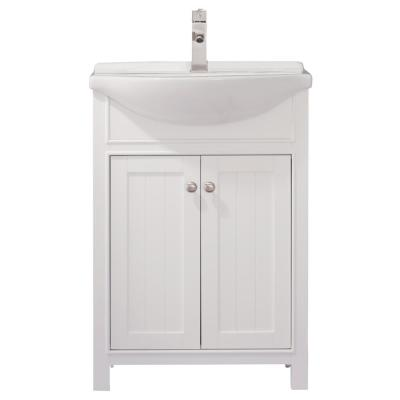 Marian 24 in. W x 17 in. D Bath Vanity in White with Porcelain Vanity Top in White with White Basin
