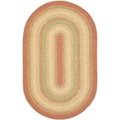 Braided Rust/Multi 6 ft. x 9 ft. Oval Area Rug