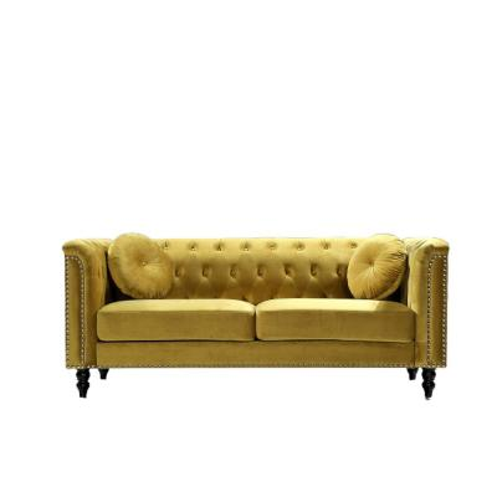 Vivian Strong Yellow Classic Velvet Kittleson Nailhead Chesterfield Sofa