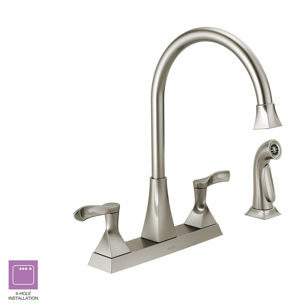 Delta Everly 2 Handle Standard Kitchen Faucet With Spray In