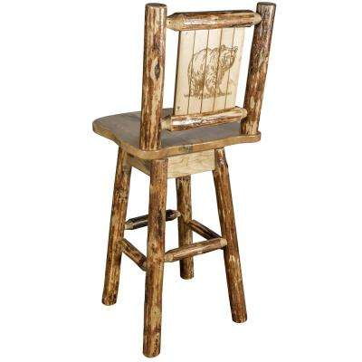 Glacier 30 in. Laser Engraved Bear Motif Swivel Bar Stool