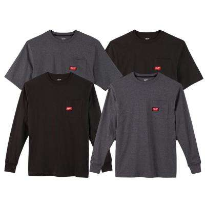 Men's Large Black and Gray Heavy-Duty Cotton/Polyester Long-Sleeve and Short-Sleeve Pocket T-Shirt (4-Pack)