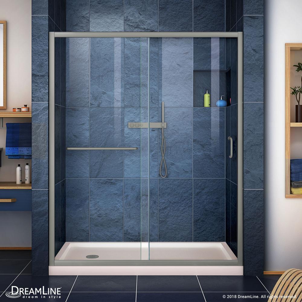 Infinity-Z 60 in. x 72 in. Framed Sliding Shower Door in Brushed Nickel with Left Drain Shower Base in Biscuit