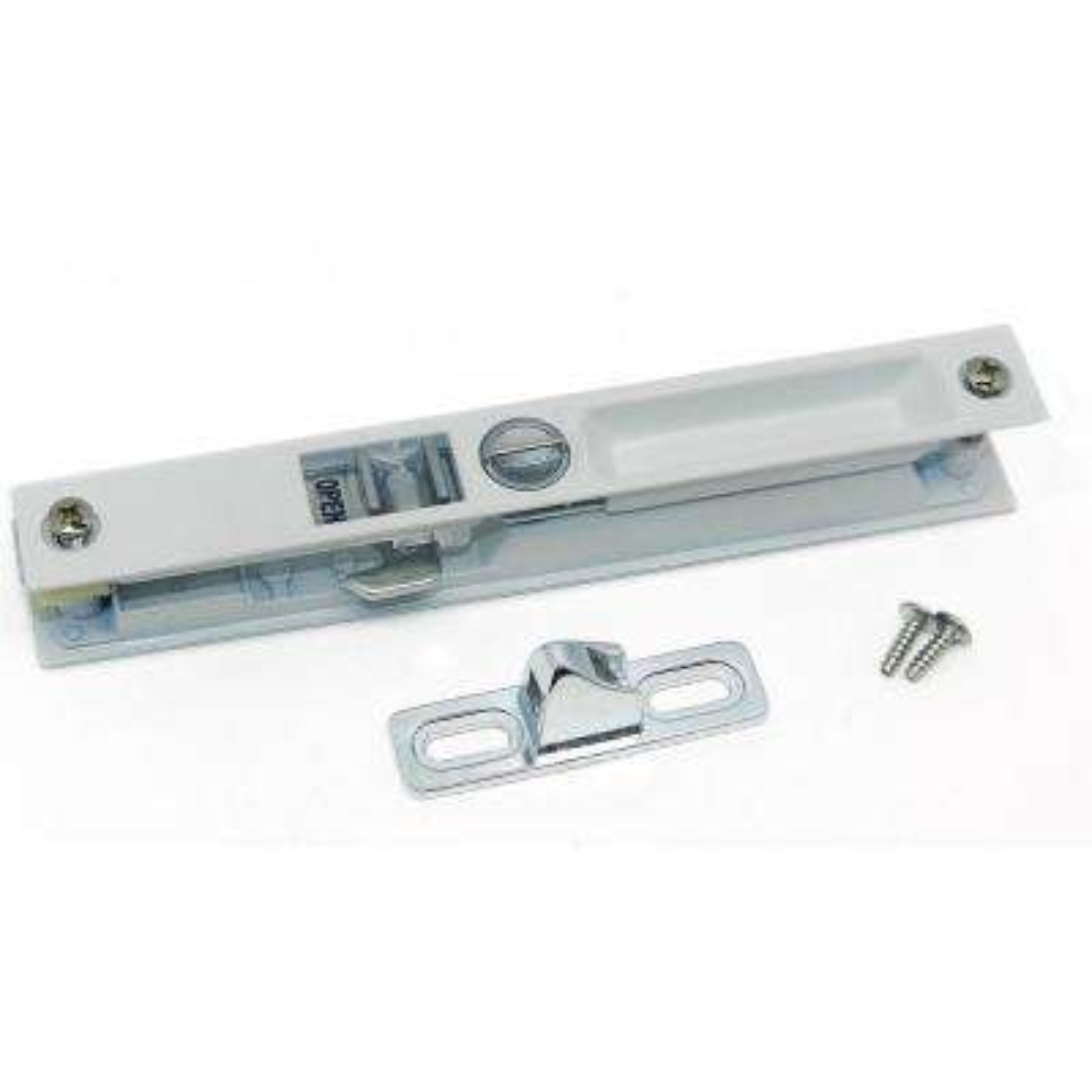 White Finish Patio Door Lock for Downward Locking