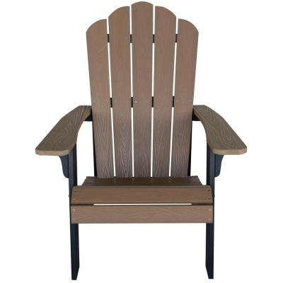 Tan with Black Accents Outdoor 2-Tone Wood Construction with Durable Faux Adirondack Chair