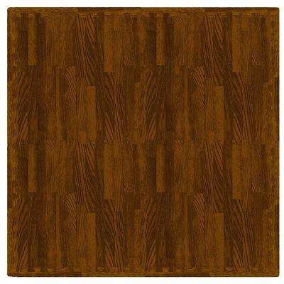 Maple Wood 24 in. x 24 in. Residential Interlocking Foam Mat (4-Pack)