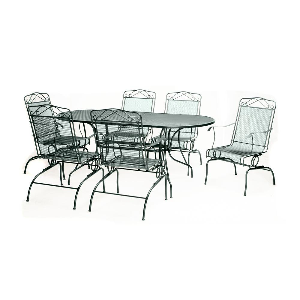 null Green Wrought Iron 7-Piece Action Patio Dining Set-DISCONTINUED