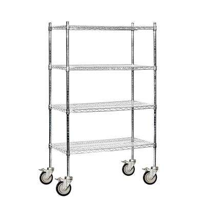 36 in. W x 69 in. H x 18 in. D Industrial Grade Welded Wire Mobile Wire Shelving in Chrome