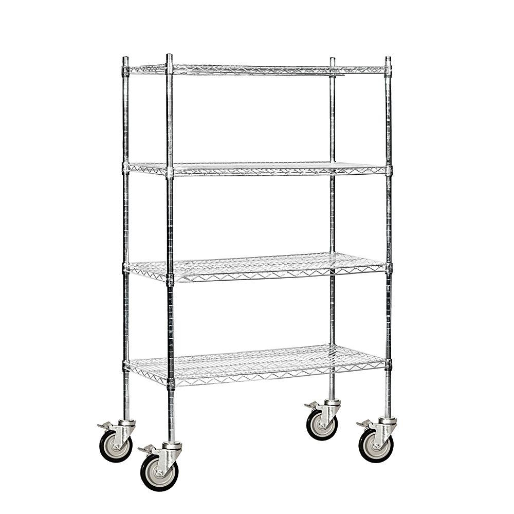 Salsbury Industries 9500M Series 36 in. W x 69 in. H x 18 in. D Industrial Grade Welded Wire Mobile Wire Shelving in Chrome