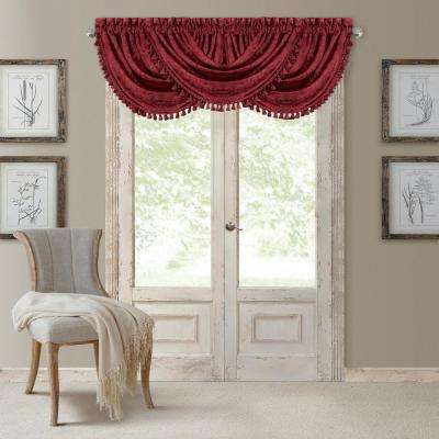 Antonia 52 in. W x 36 in. L, Polyester Blackout Rod Pocket Window Valance in Rouge