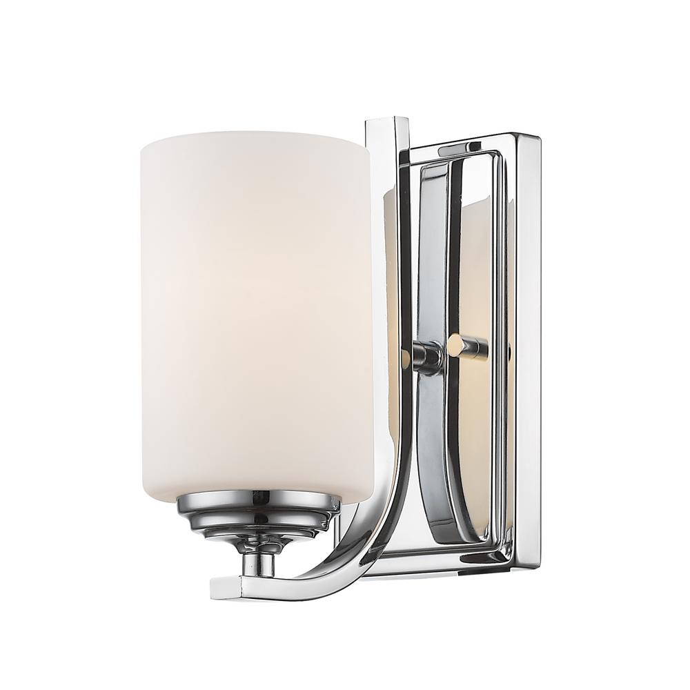 Filament design nicol 1 light chrome wall sconce with for Chrome bathroom sconce with shade