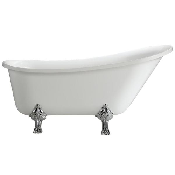Jacqueline 5.2 ft. Acrylic Clawfoot Non-Whirlpool Bathtub in White