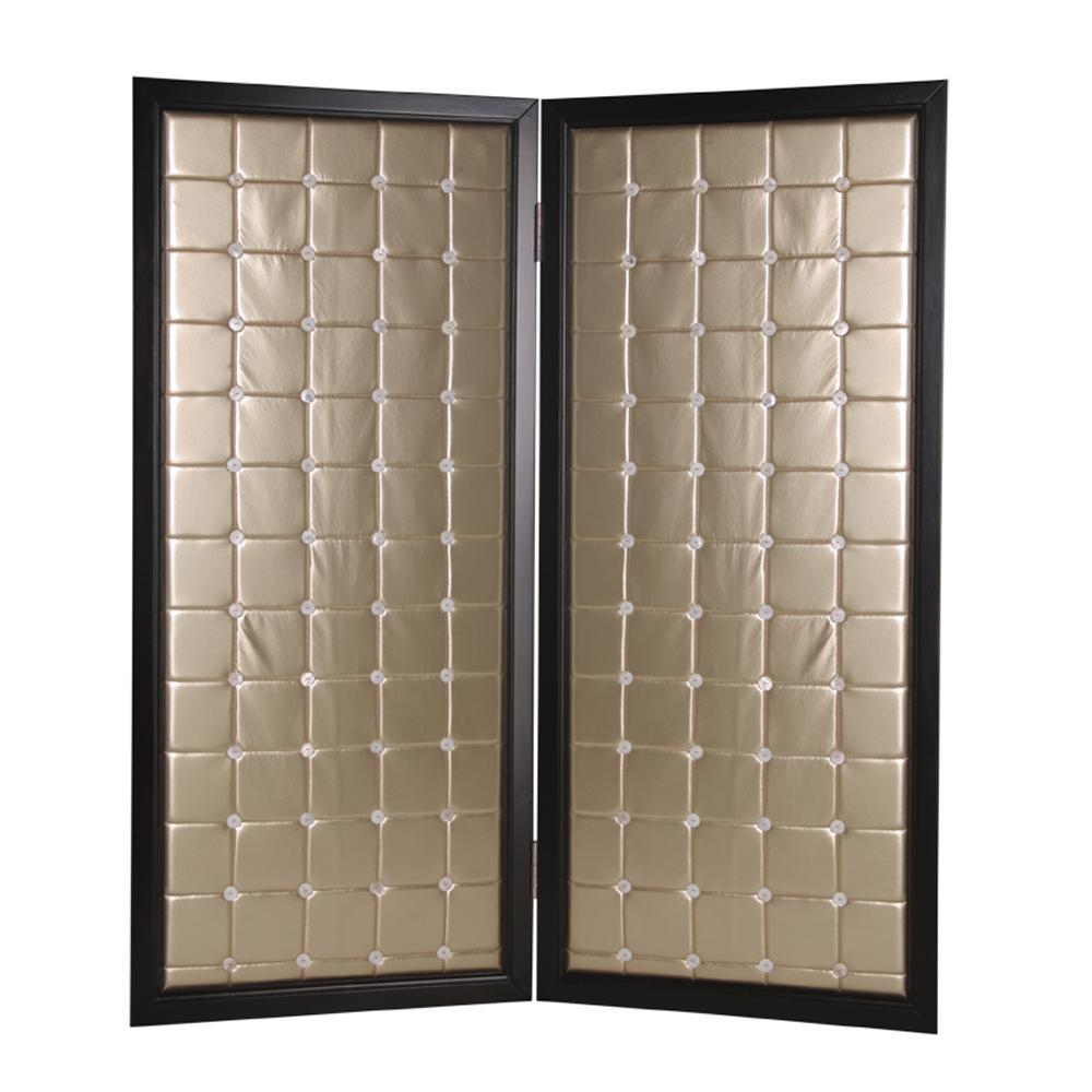 Beau Monde 7 Ft Gold 2 Panel Room Divider