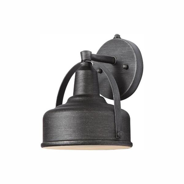 9 in. Weathered Pewter Outdoor LED Wall Lantern Sconce with Open Bottom
