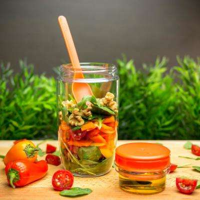 22.8 oz. Inbox Salad Shaker with Dressing Container and Fork