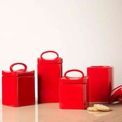 Red Ceramic Wavy Canisters (Set of 4)
