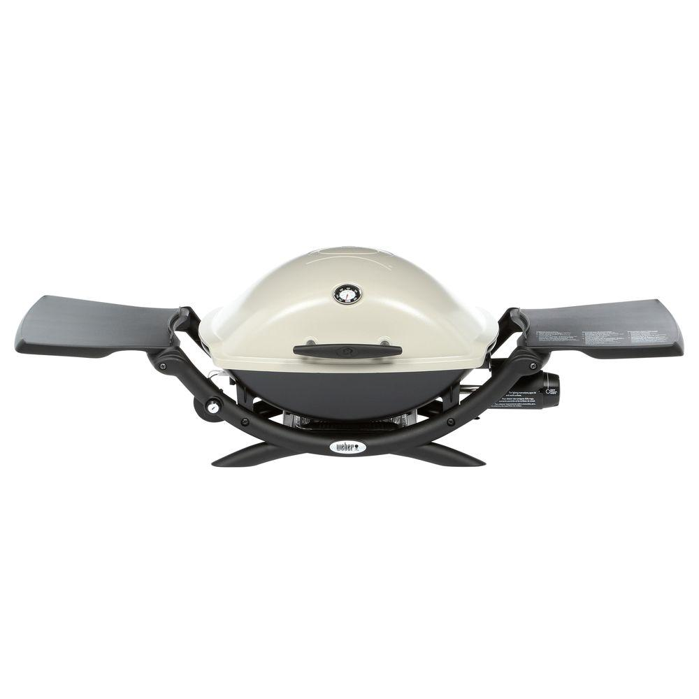 Weber Q 2200 1-Burner Portable Propane Gas Grill in Titanium with Built-In Thermometer
