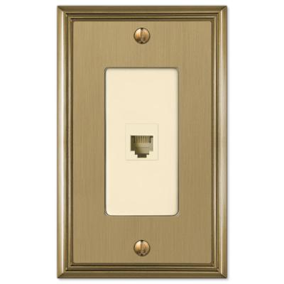 Rhodes 1 Gang Phone Metal Wall Plate - Brushed Bronze