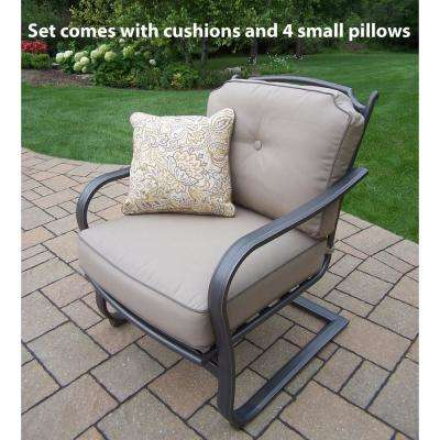 Aluminum Outdoor Lounge Chair with Sunbrella Beige Cushion (2-Pack)