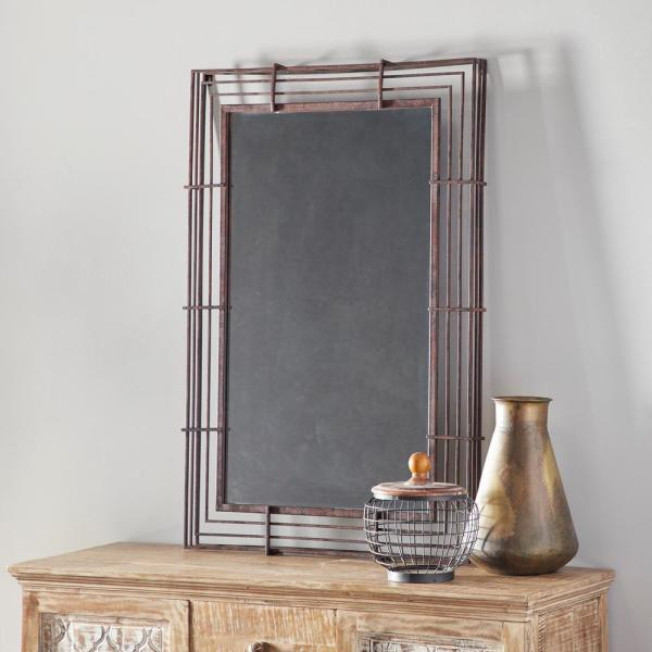 Litton Lane Rectangular Textured Bronze Wrought Iron Wall Mirror