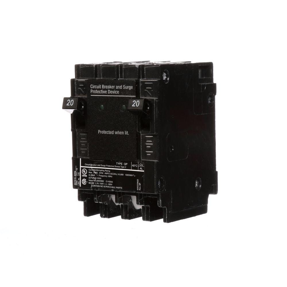 siemens 20 amp 6 5 in whole house surge protected circuit breaker qsa2020spdp the home depot. Black Bedroom Furniture Sets. Home Design Ideas
