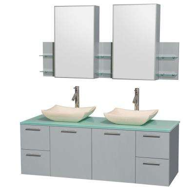 Amare 60 in. W x 22.25 in. D Vanity in Dove Gray with Glass Vanity Top in Green with Ivory Basins and Cabinet Mirrors
