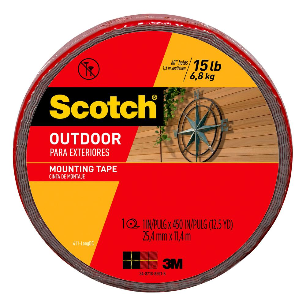 3M Scotch 1 in. x 12.5 yds. Permanent Outdoor Double Sided Mounting Tape