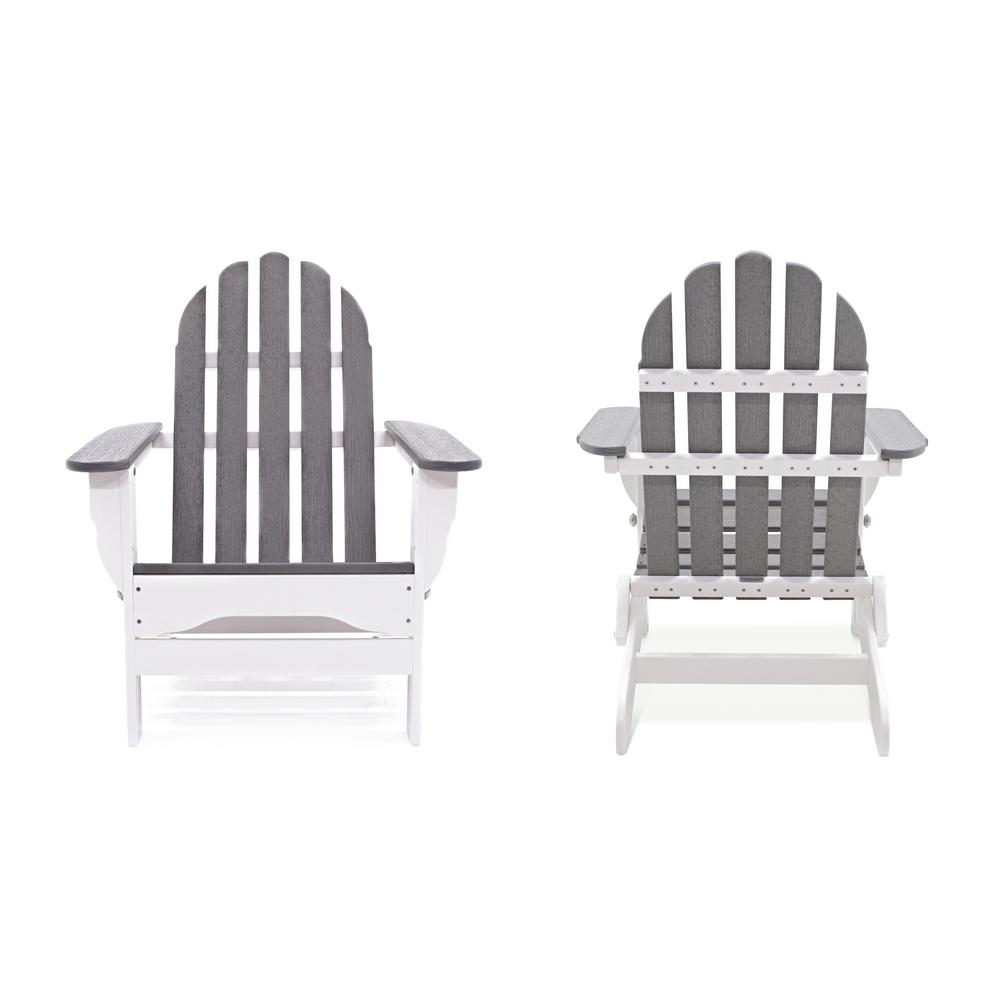 Icon White and Driftwood Recycled Plastic Folding Adirondack Chair (2-Pack)