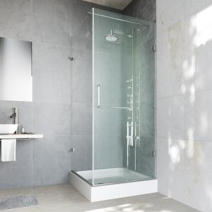 Frameless Pivot Shower Enclosure In Chrome With Clear.