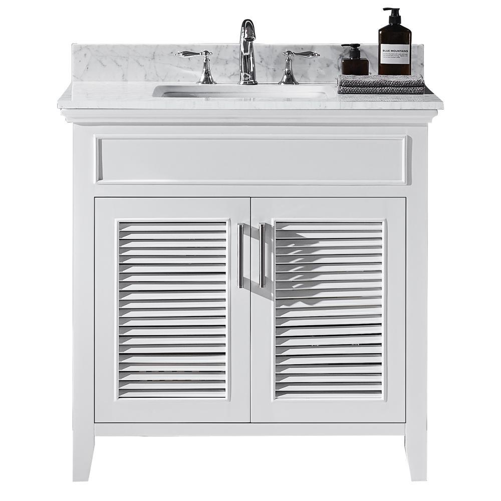Elise 36 in. W x 22 in. D x 34.21 in. H Bath Vanity in White with Marble Vanity Top in White with White Basin