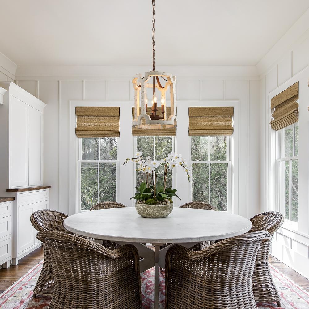 Jolla Farmhouse 4-Light Rustic Bronze Drum Chandelier Weathered White Wood Foyer Pendant