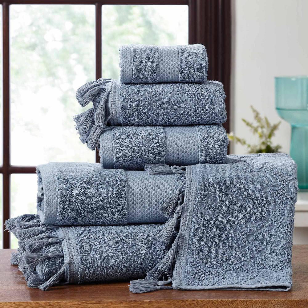 6-Piece Smoke Jacquard Towel Set with Tassels