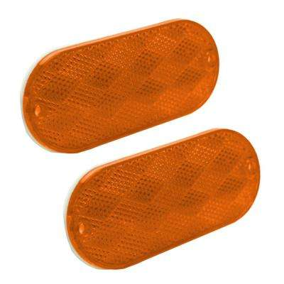 4-1/2 in. Oblong Amber Self-Adhesive Reflectors (2-Pack)