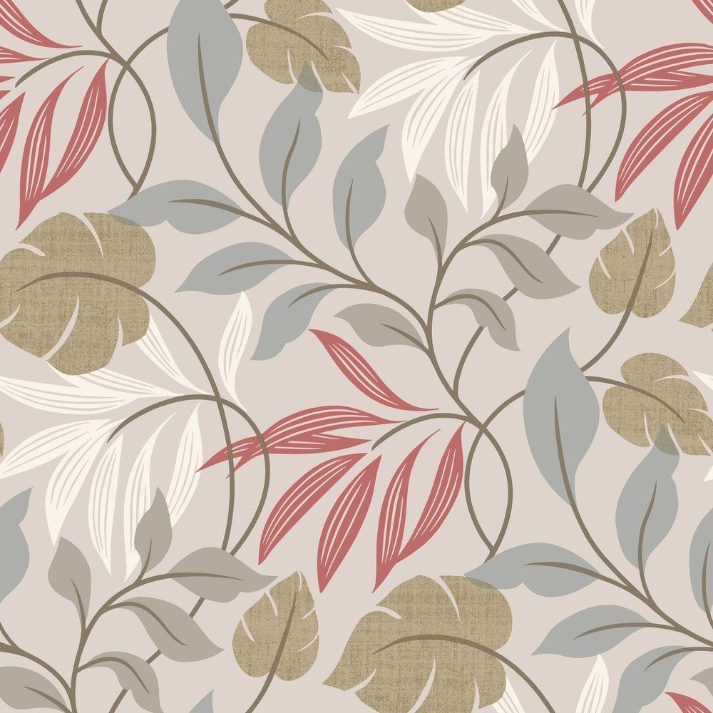 Eden Grey Modern Leaf Trail Wallpaper Sample