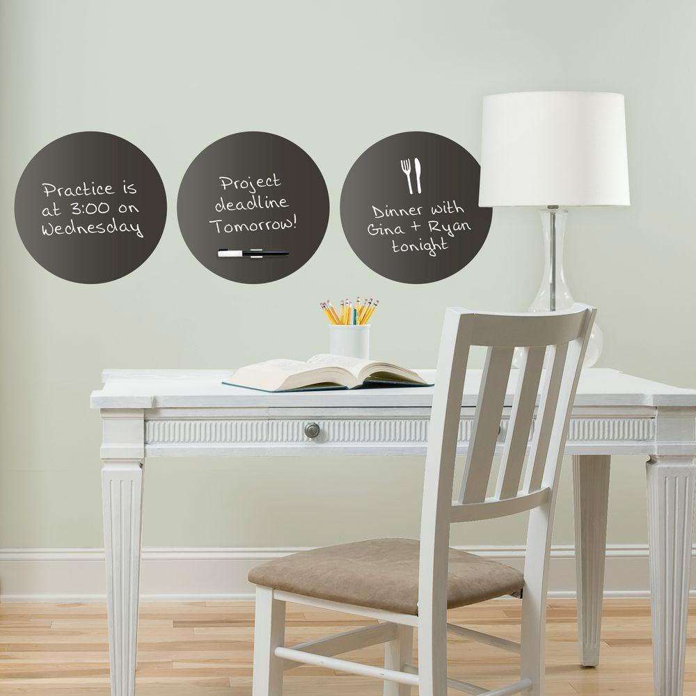 13 in. x 13 in. Charcoal 3-Sheet Dry Erase Dots Decal